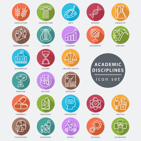 Academic disciplines isolated icon set, vector illustration Illustration