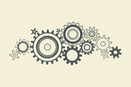 Abstract black connected cogs, gears, vector illustration