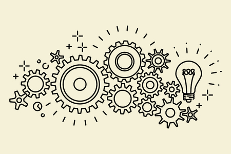 Abstract black connected cogs, gears, outline vector illustration
