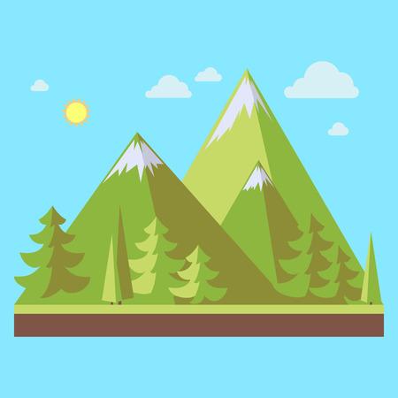 Bergenlandschap met pijnboombomen in vlakke stijl, ecoscène, vectorillustratie