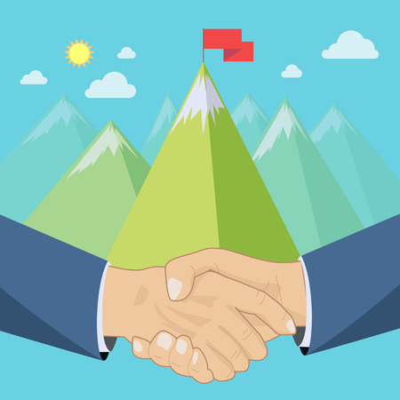 summits: Shaking hands in front of mountains landscape, business deal or summit concept, vector illustration