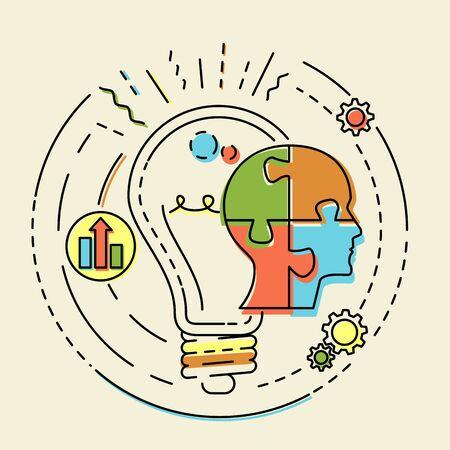 Creatief concept bedrijfsidee, verbinding, ontdekking, innovatie en oplossing, overzichtsontwerp, vectorillustratie Stockfoto - 60236037