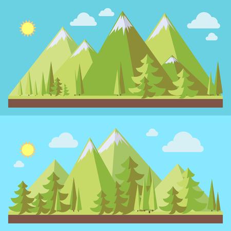 Berglandschappen met pijnbomen in vlakke stijl, ecoscènes, vectorillustratie