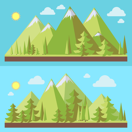 range of motion: Mountain landscapes with pine trees in flat style, eco scenes, vector illustration