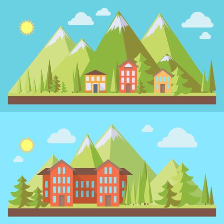 Bergtoevlucht, landschappen met pijnboombomen in vlakke stijl, ecoscène, vectorillustratiereeks Stockfoto - 60236039