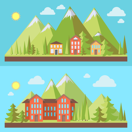 resorts: Mountain resorts, landscapes with pine trees in flat style, eco scene, vector illustration set Illustration