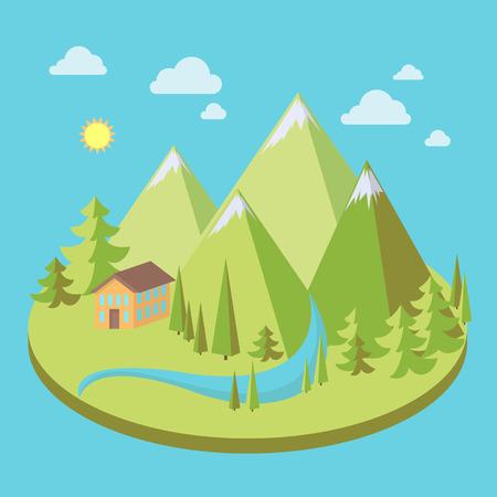 Berglandschap met pijnbomen, huis en rivier in vlakke stijl, ecoscène, vectorillustratie