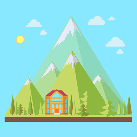 range of motion: Mountain resort, landscape with pine trees in flat style, eco scene, vector illustration