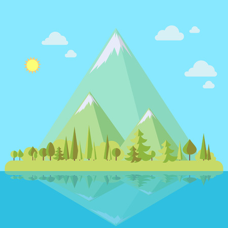 Eiland met bergenlandschap en pijnboombomen in vlakke stijl, ecoscène, vectorillustratie