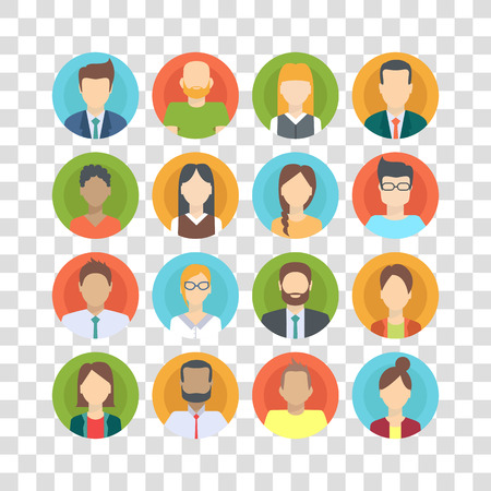 Reeks bedrijfsmensen, inzameling van diverse karakters in vlakke beeldverhaalstijl, vectorillustratie