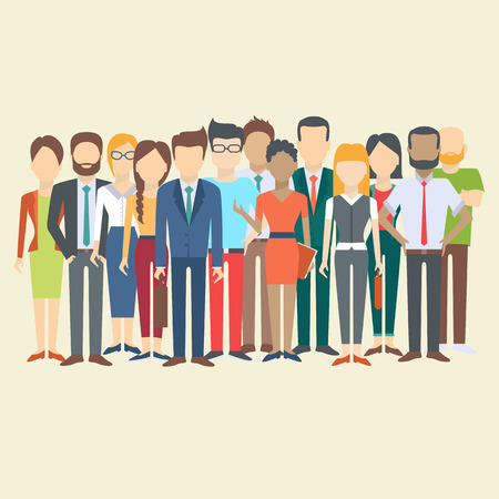 diverse business team: Set of business people, collection of diverse characters in flat cartoon style, vector illustration Illustration