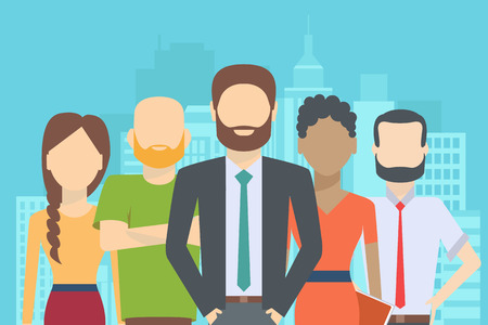 carreer: Set of business people, collection of diverse characters in flat cartoon style on the city background, vector illustration