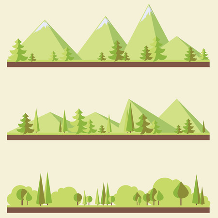 hill top: Mountain landscapes with trees in flat style, eco scenes, vector illustration Illustration