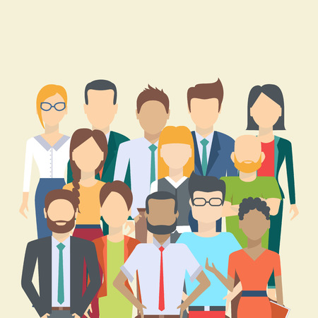 Set of business people, collection of diverse characters in flat cartoon style, vector illustration 矢量图像