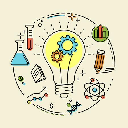 Creatief concept bedrijfsidee, verbinding, ontdekking, innovatie en oplossing, overzichtsontwerp, vectorillustratie Stockfoto - 60236160