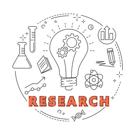 Creatief concept business idee, onderzoek, verbinding, ontdekking, innovatie en oplossing, schetsontwerp vector illustratie Stockfoto - 60236162