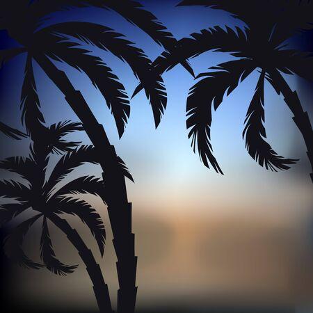 Abstracte zonsondergang achtergrond met palmbomen silhouetten, vectorillustratie