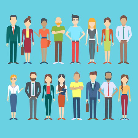 Set of business people, collection of diverse characters and dress styles in flat cartoon style, vector illustration Иллюстрация