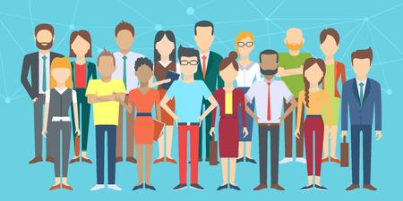 Conjunto de personas de negocios, colección de diversos personajes de dibujos animados de estilo plana, ilustración vectorial Ilustración de vector
