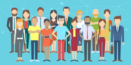 Set of business people, collection of diverse characters in flat cartoon style, vector illustration Illustration