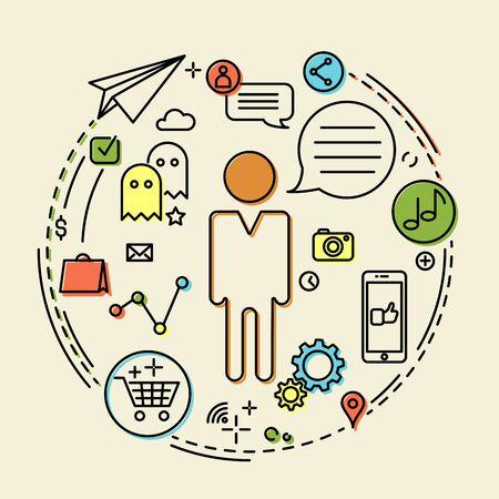 vida social: Idea creativa del concepto de negocio, conexión, el descubrimiento, la innovación y la vida social, esquema de diseño, ilustración vectorial