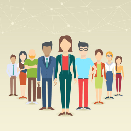 Set of business people, collection of diverse characters in flat cartoon style, vector illustration Illusztráció