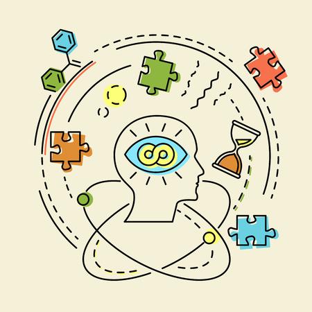 Creatief concept bedrijfsidee, verbinding, ontdekking, innovatie en oplossing, overzichtsontwerp, vectorillustratie