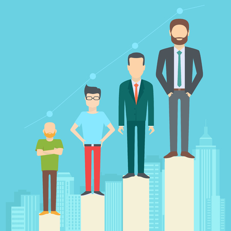 diverse: Set of business people, collection of diverse characters in flat cartoon style on the city background, vector illustration