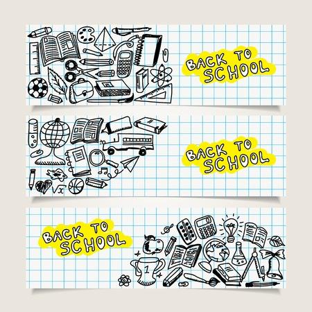 Set van banners met scholen pictogrammen, schets collectie in doodle stijl, illustratie Stockfoto - 63212323