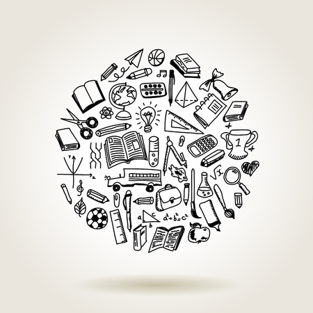 School pictogrammen, schets collectie in doodle stijl, illustratie Stockfoto - 63212328
