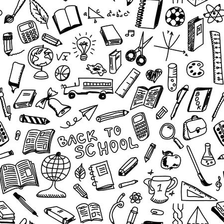 School levert schets naadloze patroon in doodle stijl, illustratie Stock Illustratie