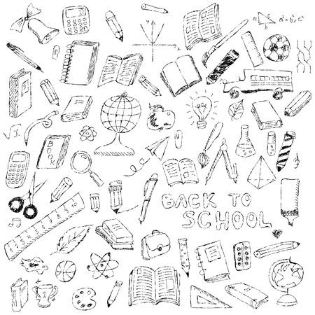 School pictogrammen, schets collectie in doodle stijl, illustratie Stockfoto - 63212339