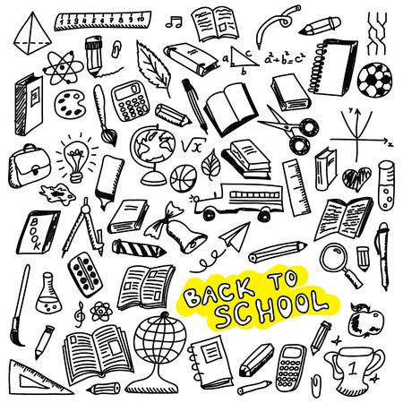 School pictogrammen, schets collectie in doodle stijl, illustratie