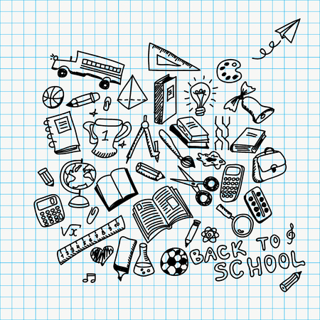 Terug naar school illustratie met hand getekende schoolbenodigdheden doodles Stockfoto - 63212345