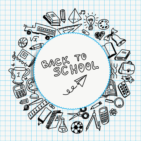 Schoollevering in schetsstijl, terug naar schoolillustratie die wordt getrokken Stock Illustratie