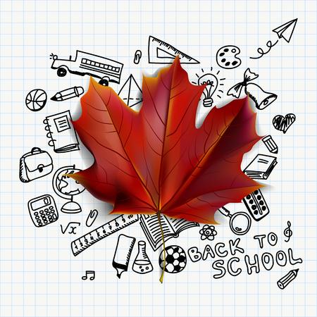 Terug naar school vectorillustratie met hand getrokken school levert doodles en rode esdoornblad Stockfoto - 63212343