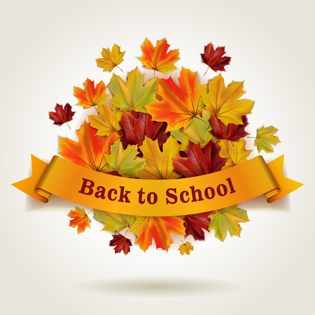 Terug naar school illustratie met banner en kleurrijke herfst esdoorn bladeren