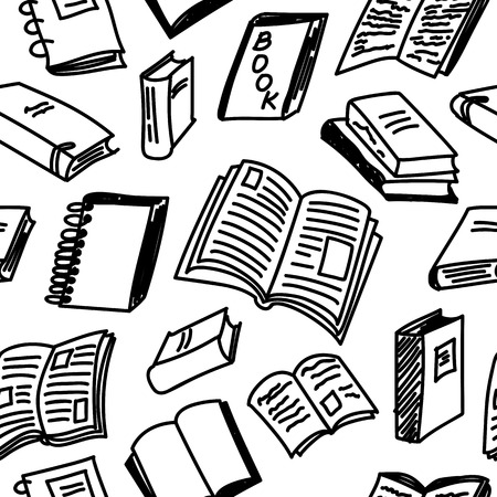 Books sketch seamless monochrome pattern in doodle style, illustration