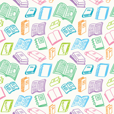 Books sketch seamless colorful pattern in doodle style, illustration