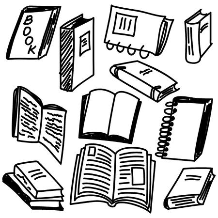 De schetsinzameling van boeken in krabbelstijl, illustratie Stock Illustratie