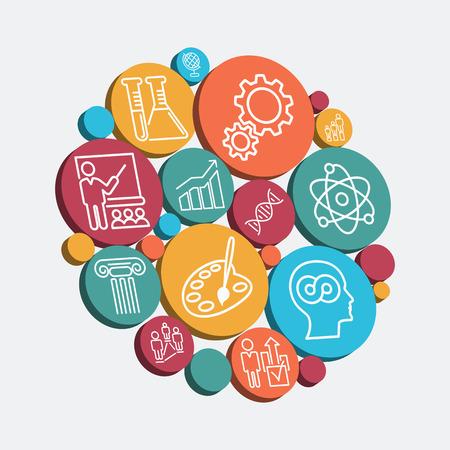 Set van kleurrijke geïsoleerde iconen van educatieve thematiek, illustratie Stock Illustratie