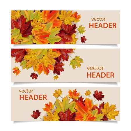 Reeks kleurrijke de herfstbanners met esdoornbladeren, illustratie Stockfoto - 63247670