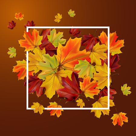 Abstracte de herfstachtergrond met kleurrijke bladeren, illustratie