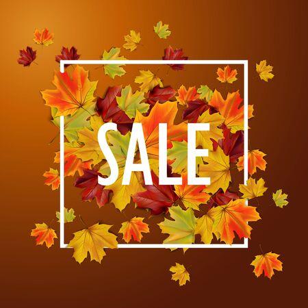 Herfst verkoop achtergrond met kleurrijke bladeren, illustratie