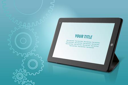 Abstracte technologische achtergrond met tablet, illustratie