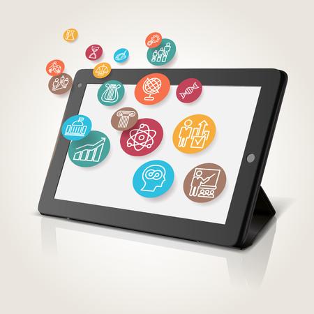 Tablet met educatieve iconen, technologie achtergrond, illustratie