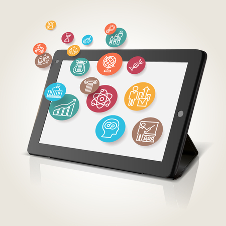 phone isolated: Tablet with educational icons, technology background, illustration