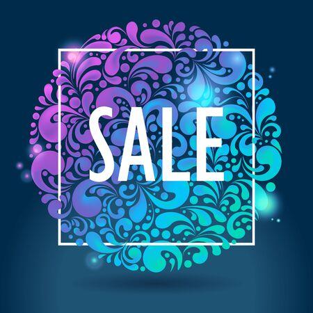 Abstracte ronde glanzende gloeiende verkoopachtergrond, illustratie Stock Illustratie