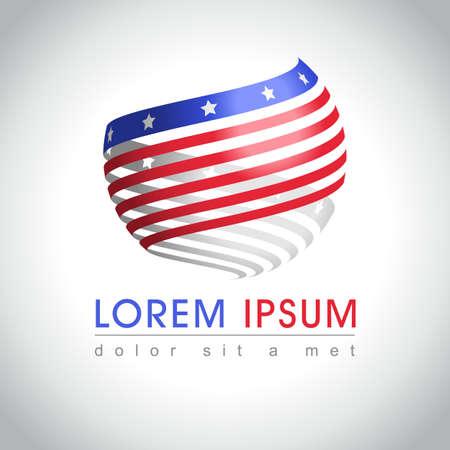 Abstracte ronde vorm Amerikaanse vlag monster. Amerikaanse nationale symbool pictogram, illustratie