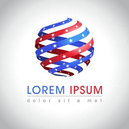 Abstracte ronde vorm Amerikaanse vlag logo monster. US nationaal symboolpictogram, illustratie Stock Illustratie